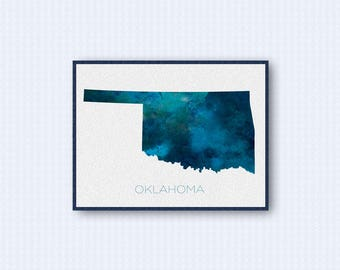 Oklahoma Map Watercolor Poster, United States Map Print, Blue Version
