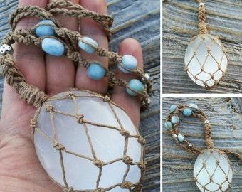Hemp Wrapped Selenite Palm Stone with Aquamarine nuggets, Hemp Macrame Selenite Necklace, Selenite Palm Stone Necklace, Aquamarine Necklace