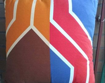 Retro funky vintage fabric cushion