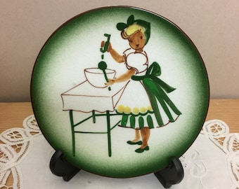 Vintage 50s Florencita Plate Hand Painted Decorator Wall Hanging Plate Lady Baking California Pottery Numbered