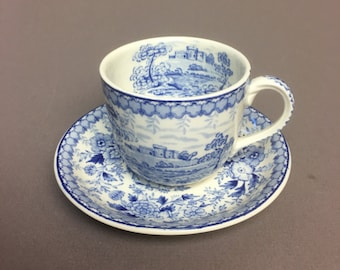 20s Tea Cup & Saucer Set in Woodland-Blue by Aimcee - England