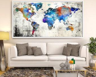SALE! Push Pin Travel Map, World Travels Map, Map Art, World Map Art Print, Paper Anniversary Gift, Push Pin Map - Large Map  (L103)