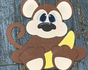 Baby Zoo Animal Monkey Handmade Cut Out Paper Scrapbook Embellishment Gift Package Tag