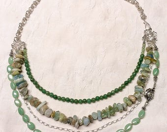 Green Aventurine, Quartz and Sterling  Silver Necklace