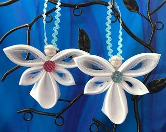 Angel Ornament Handmade Fabric Kanzashi Custom Christmas Ornament