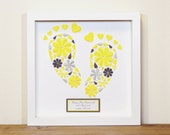 New Baby Gift Baby footprints framed wall decor New baby details Nursery decor Custom baby gift