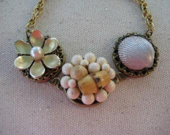 Vintage Earring Bracelet, Repurposed Jewelry, Upcycled Recycled, Reclaimed, Adjustable, Earth tones, Neutrals, OOAK, eco friendly /B25