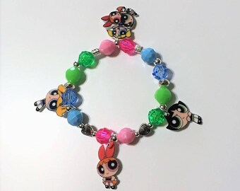 Powerpuff Girls Charm Bracelet, Powerpuff Girls Bracelet, Powerpuff Girls Birthday, Powerpuff Girls Party Favors