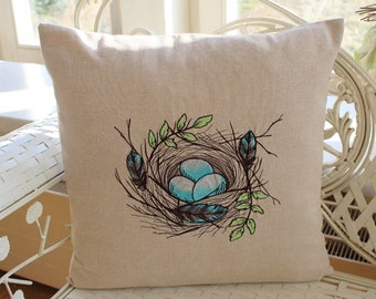 Bird's nest embroidery Cushion cover