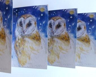 5 barn owl greetings cards