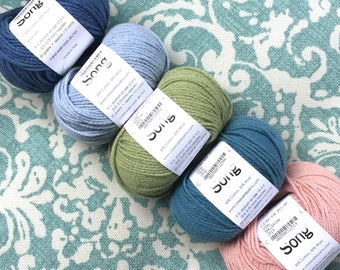 Classic Elite SONG Cotton Wool DK Yarn 7.75 +1.50ea to Ship Denim 2547-Sky 2557-Willow 2581-Teal 2546-Pink 2519 +3 Free Patterns. MSRP 11.00