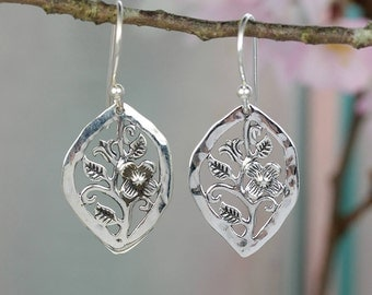 Sterling Silver Earrings with Secret Garden Flower Design / Nature / Silver Jewelry