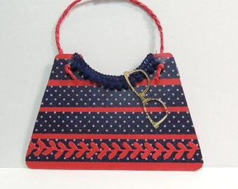 Gift Card Holder For Her, Red and Blue Purse Gift Card Holder with Sunglasses, Birthday, Any Occasion, For A Friend, or Mom.