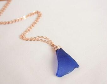 SAPPHIRE Blue Scottish Sea Glass Necklace / Rose Gold Sea Glass / Blue sea glass / Scotland / Rose Gold / Handmade / Rois Scotland Handmade