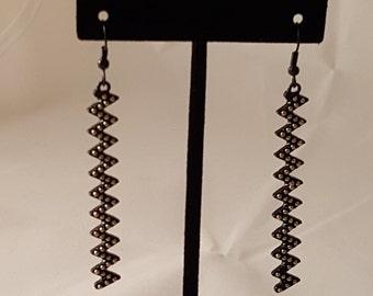 Black Zig-Zag Earrings - Black Earrings - Zig Zag Earrings - Dimensional Earrings - Black & Gold Earrings - Black Jewelry - Women's Earrings