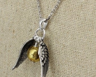 SS033- Silver Quidditch-inspired small winged golden ball necklace