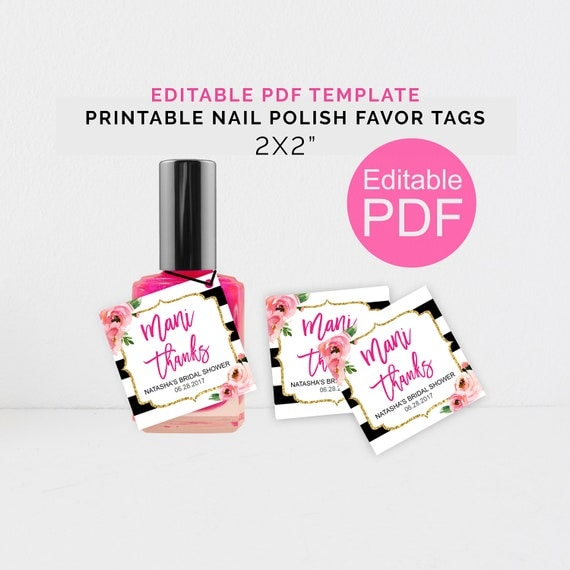 Personalized Mani Thanks Tags Printable Kate Shower Nail Polish Favor DIY Template Bachelorette Party