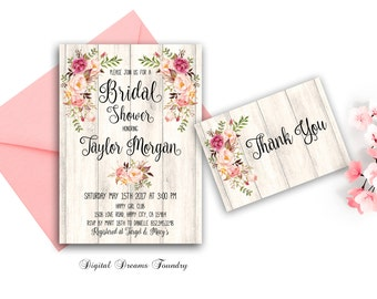 Floral Bridal Shower Invitation Spring Bridal Shower Invites Printable Boho Bridal Invitation Bride to be Invitation Rustic Fall Bridal