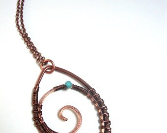 Copper wire wrapped spiral tribal necklaces