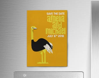 Retro Save the Date Magnets, Bird Wedding Magnets, Tropical Ostrich Wedding Invites, 1950s Save the Date Invitations, Safari Wedding