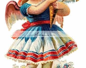 Printable Art Instant Download - Little Angel with Bouquet Victorian Antique Vintage Art Image - Paper Crafts Scrapbooking Altered Art