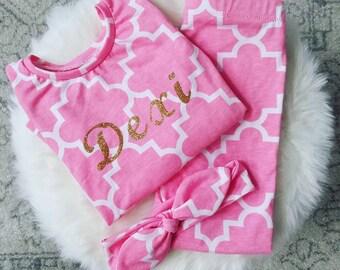 Personalized Pink Quarterfoil Girl's Pajamas
