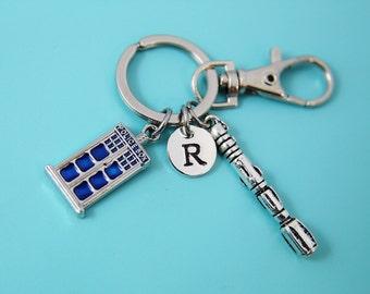 Silver Police Box Charm Keychain Screwdriver Keychian Police Box Jewelry Doctor  mall Blue Tardis Charm Sonic Screwdriver Personalized