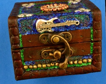 Rock Lovin' Witch Pentagram & Guitar Box with antique clasp and suede.