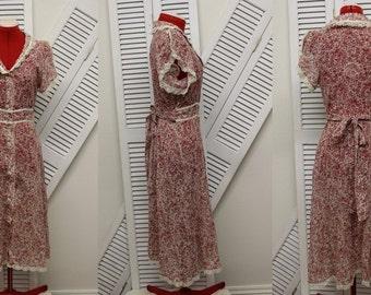 VTG 1930's Reproduction Country Dress Made in 1970's/Size S/Semi-Sheer Floar Cotton & Lace/Bluegrass/Folk/Sundress/Short Sleeve/ButtonDown