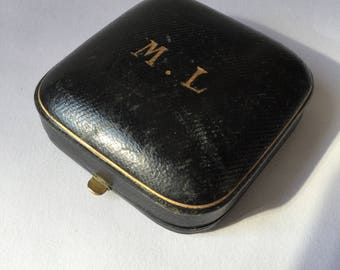 Victorian jewels case black leather and gold monogrammed