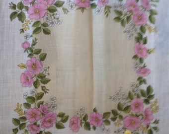 Kreier 100% Cotton Handkerchief - Geometric Floral Design in White, Pale Peach and Pink Roses  - New and Unused From Vintage 1970 Stock