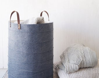 Laundry basket. Large denim storage basket. Laundry hamper. Storage bin. Toy storage. Canvas toy box. Baby hamper. Nursery decor. Wardrobe