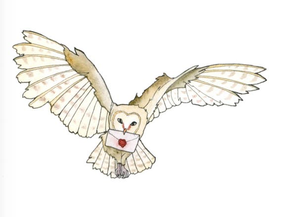 owl post art print harry potter fan art owl delivering mail