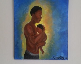 Black art, father and son, African American family, 11x14 blue wall decor. fathers day, new father gift