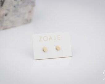 FRANCE 10k solid gold studs, dainty geometric earrings