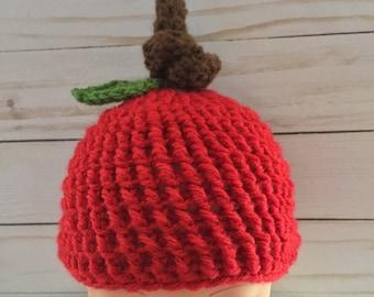 Newborn topknot Apple hat, textured Apple hat, Apple photo prop, Apple hat, Red Apple Hat, Apple beanie, newborn top knot