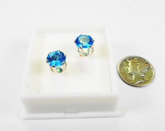 Swiss Blue Topaz Posts.  7mm. Round Swiss Blue Topaz 3.45 ctw. Silver Stud Earrings.