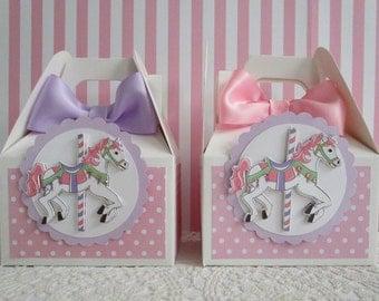 Carousel Horse Favor Boxes, Carousel Party Favors, Favor Boxes, Birthday Favor Boxes, Merry Go Round Favor Boxes, Baby Favor Boxes Qty 10