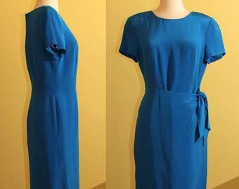 80s Patrick Collection 100% Silk Royal Blue Dress, M