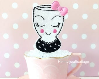 Planner Clip : Fancy CUP eyes & lashes with pink bow felt PaperClip | Page Clip | Bookmark | Page Marker . Planner accessories supply.