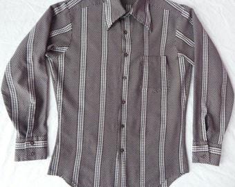 Brown Dotted Long Sleeve Mod Polyester Shirt - Mens Medium Hippie Mod Geometric