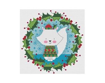 Mr. Arctic Fox Wreath - Durene J Cross Stitch Pattern
