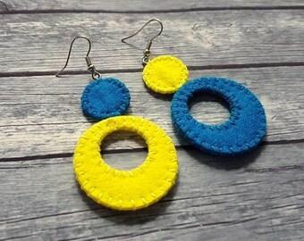 Large circle geometric dangle earrings, Asymmetrical earrings, Hoop Earrings, Long lightweight earrings, Blue & Yellow Statement Earrings