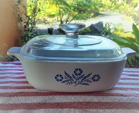 Vintage Corning Ware Blue Cornflower 1 Quart Casserole Dish With Lid P-1-B, Corningware Casserole, Blue and White Small Square Baking Dish