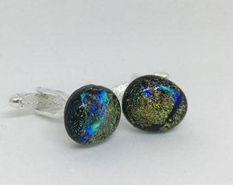 Green, Black, Golden Fused Glass Cuff links - Dichoic Glass
