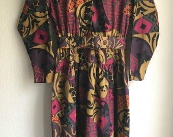 "Vintage Cotton Long Sleeve Belted Dress Florals Earth toned 26"" - 30"" waist Bold Print Medium"