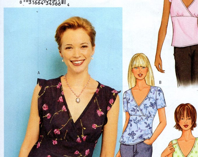 Butterick 3385  3 Looks Sewing Pattern Free Us Ship Pullover Empire Tops Sleeveless Size 6 8 10 Bust 30 31 32 2001 Uncut