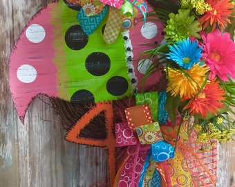 Flamingo Grapevine Wreath, Beach Wreath, Summer Wreath, Front Door Wreath