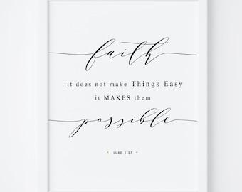 Bible Verse Print, Printable Bible Verse, Luke 1:37 , Bible Verse Print, Bible Wall Art, Printable Art, Bedroom Decor, Scripture Print