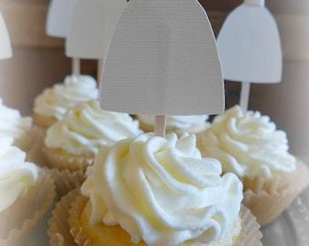 Bridal Shower Cupcake Toppers, Bridal Shower Picks, Bridal Shower Decorations, Bachelorette Party, Bride Gown Cupcake, Bridal Tea, Set of 12